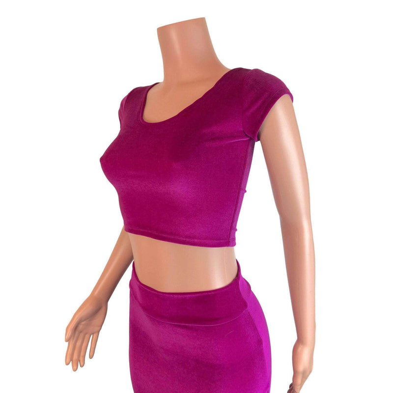 Cap Sleeve Crop Top - Fuchsia Velvet - Peridot Clothing