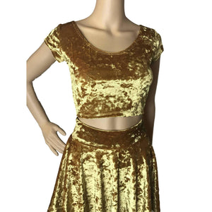 Cap Sleeve Crop Top - Gold Crushed Velvet - Peridot Clothing