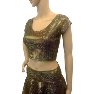 Cap Sleeve Crop Top - Gold on Black Shattered Glass - Peridot Clothing