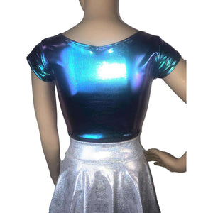 Cap Sleeve Crop Top - Oil Slick Holographic - Peridot Clothing