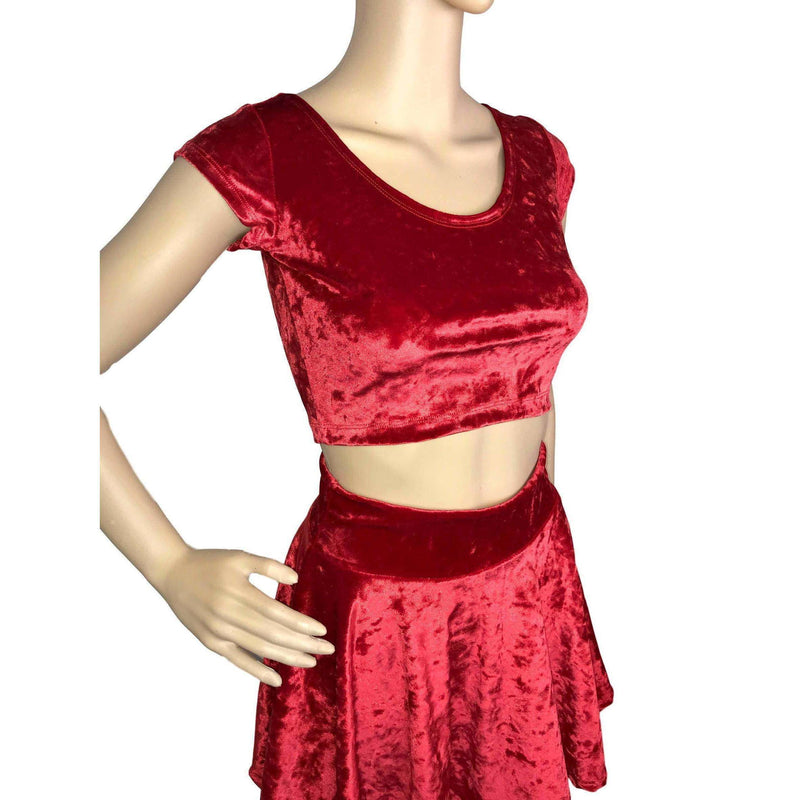 Cap Sleeve Crop Top - Red Crushed Velvet - Peridot Clothing