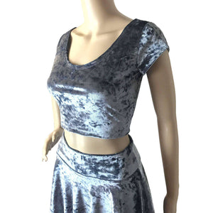 Cap Sleeve Crop Top - Silver Gray Crushed Velvet - Peridot Clothing