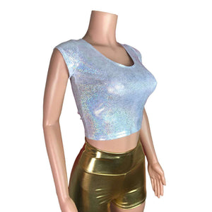 Cap Sleeve Crop Top - Silver Holographic - Peridot Clothing