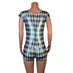 Cap Sleeve Romper - Harlequin Diamond Holographic - Peridot Clothing