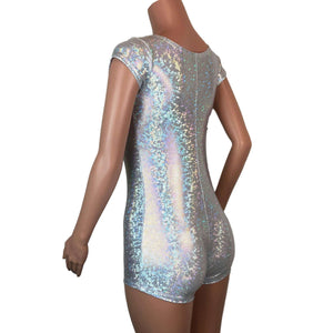 Cap Sleeve Romper - Silver Holographic Shattered Glass - Peridot Clothing