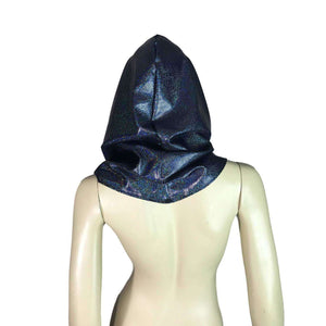 Cat Ear Black Holographic Rave Hood - Peridot Clothing