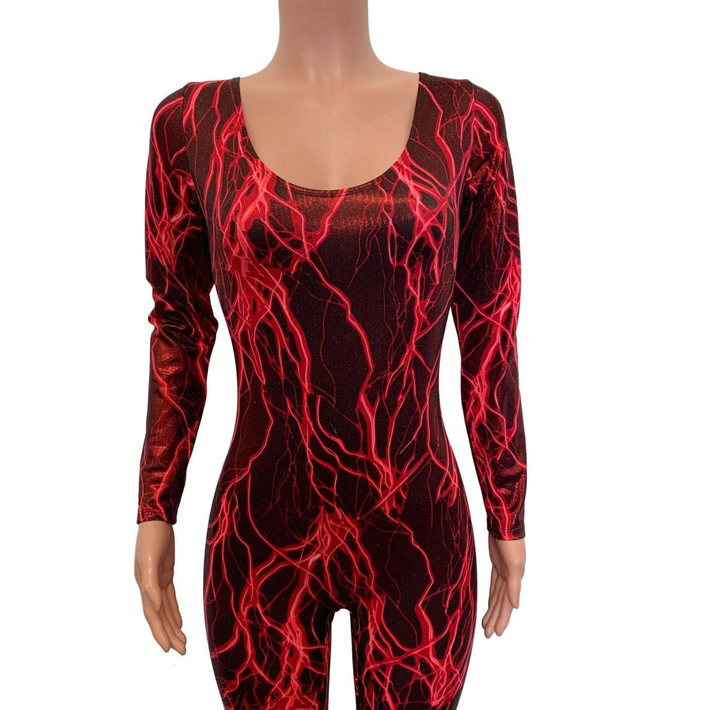 Catsuit in Red Lightning Metallic - Peridot Clothing