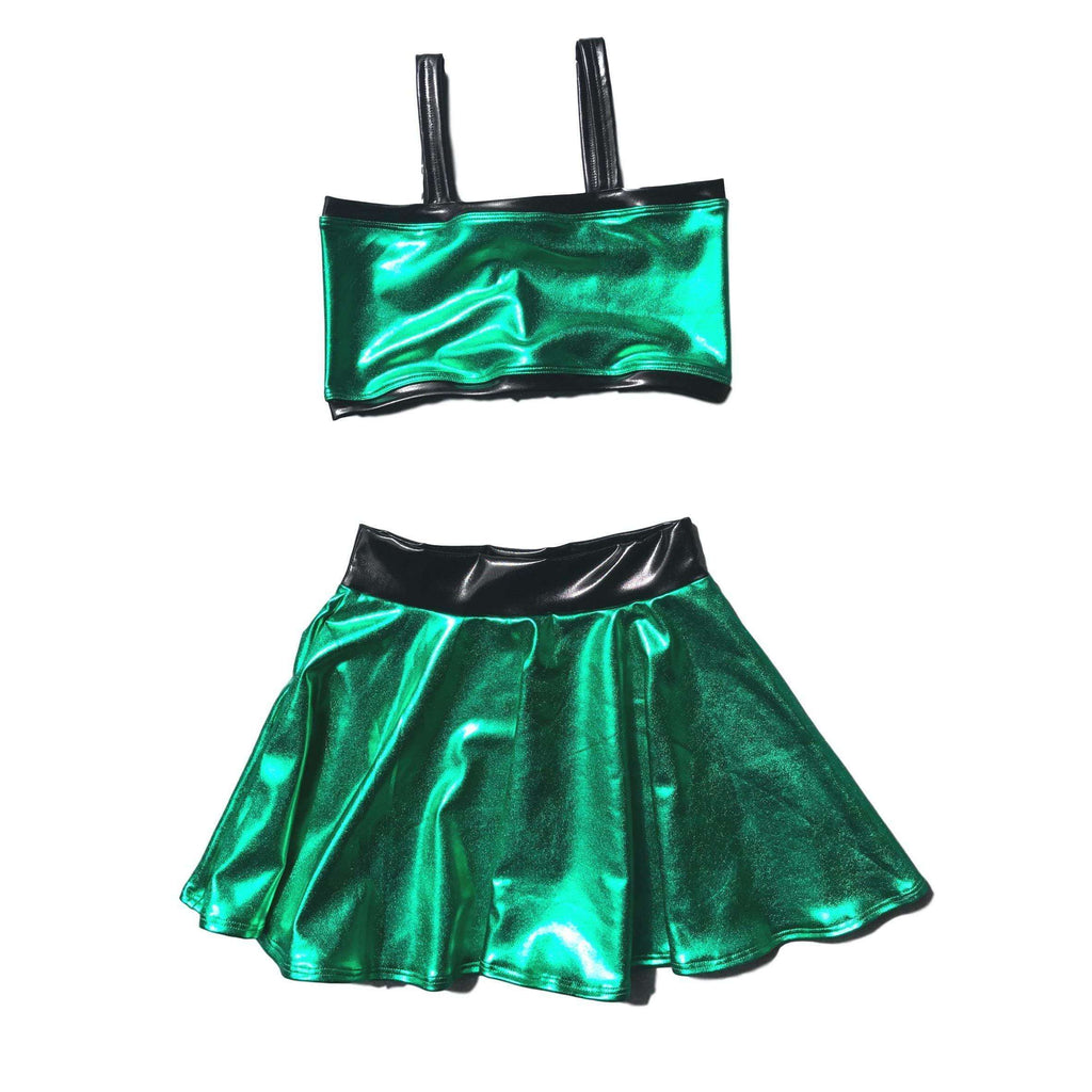 Child Jessie Graff Costume - Green Metallic w/ Skater Skirt and Crop Top - Peridot Clothing
