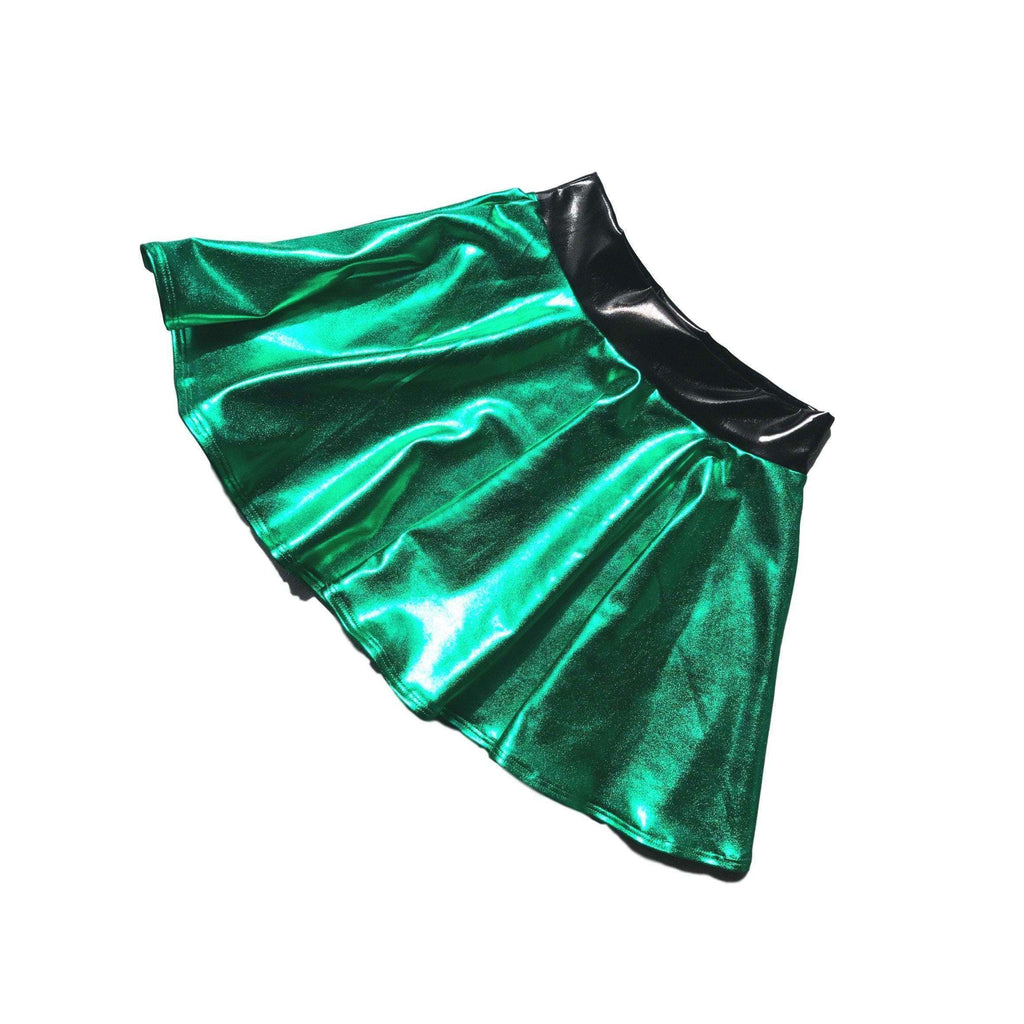Child Jessie Graff Costume - Green Metallic w/ Skater Skirt and Tank Top - Peridot Clothing