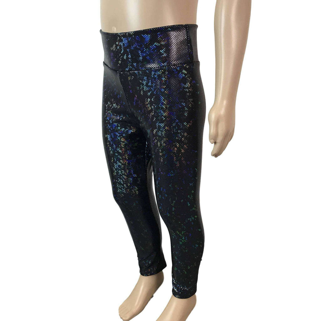 Children's Black Holographic Leggings - Peridot Clothing