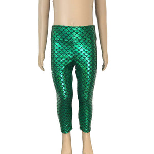 Children's Green Mermaid Scales Holographic Leggings - Peridot Clothing
