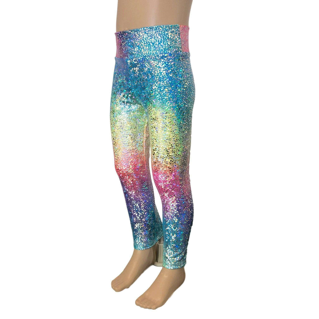 Children's Holograph Rainbow Leggings - Peridot Clothing