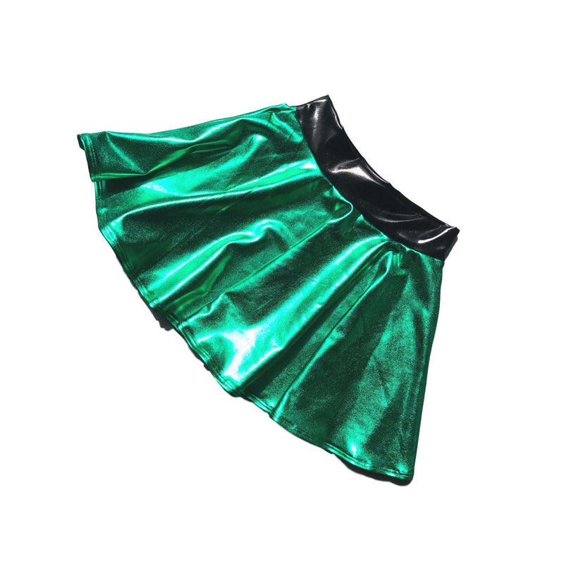 Children's Metallic Green Jessie Graff Skater Skirt - Peridot Clothing