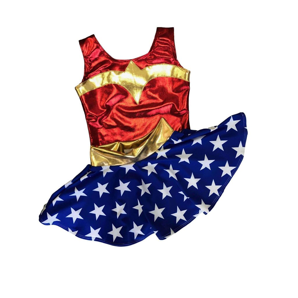 Children's Metallic Wonder Woman Costume w/ Stars Skirt - Peridot Clothing