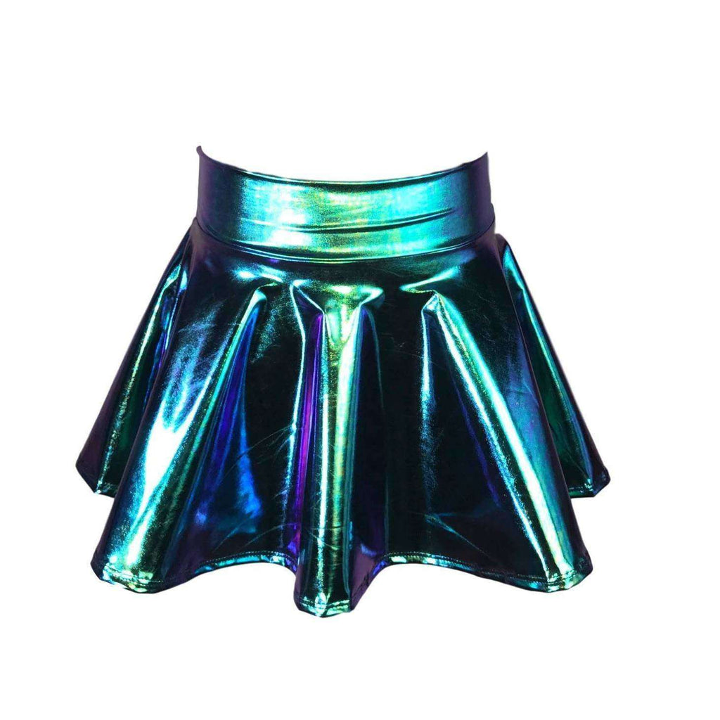 Children's Oil Slick Holographic Skater Skirt - Peridot Clothing