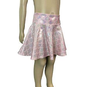 Children's Pink Mermaid Scales Holographic Skater Skirt - Peridot Clothing