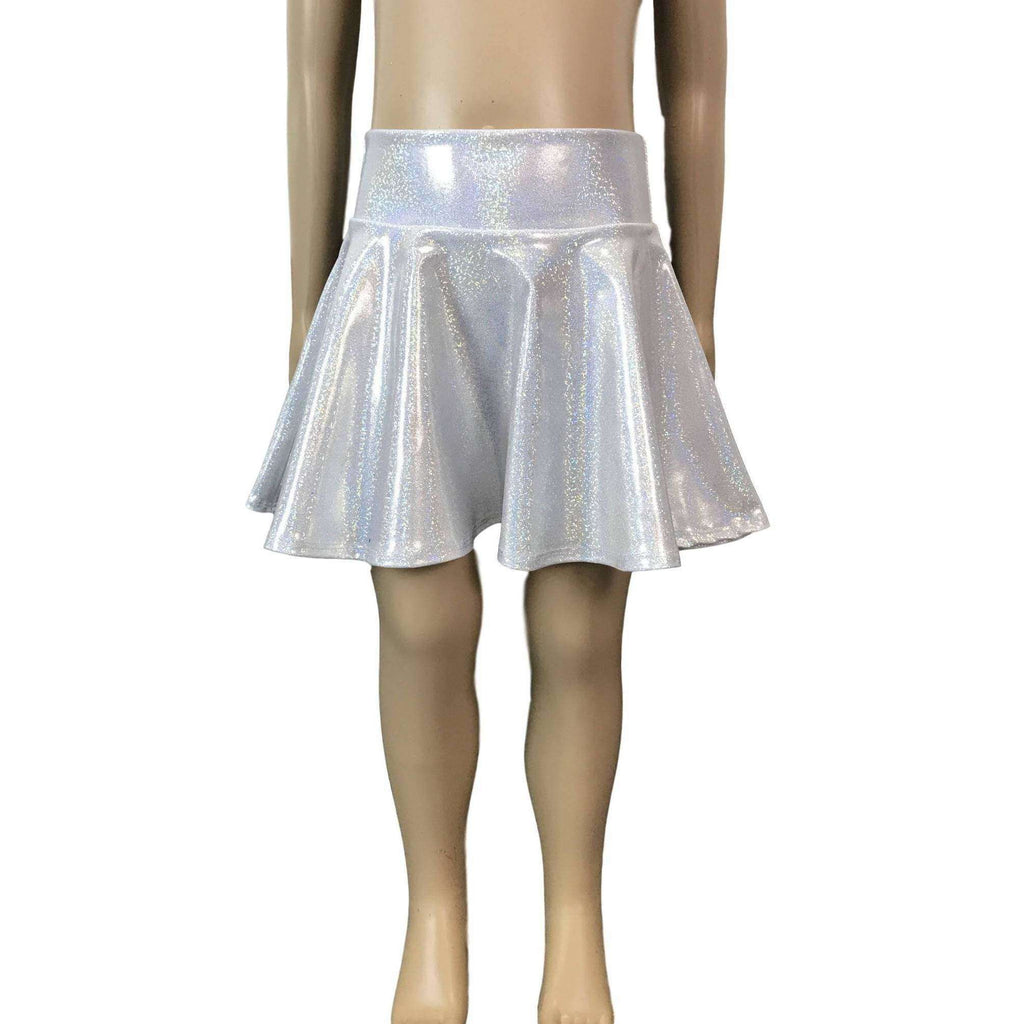 Children's Silver Holographic Skater Skirt - Peridot Clothing