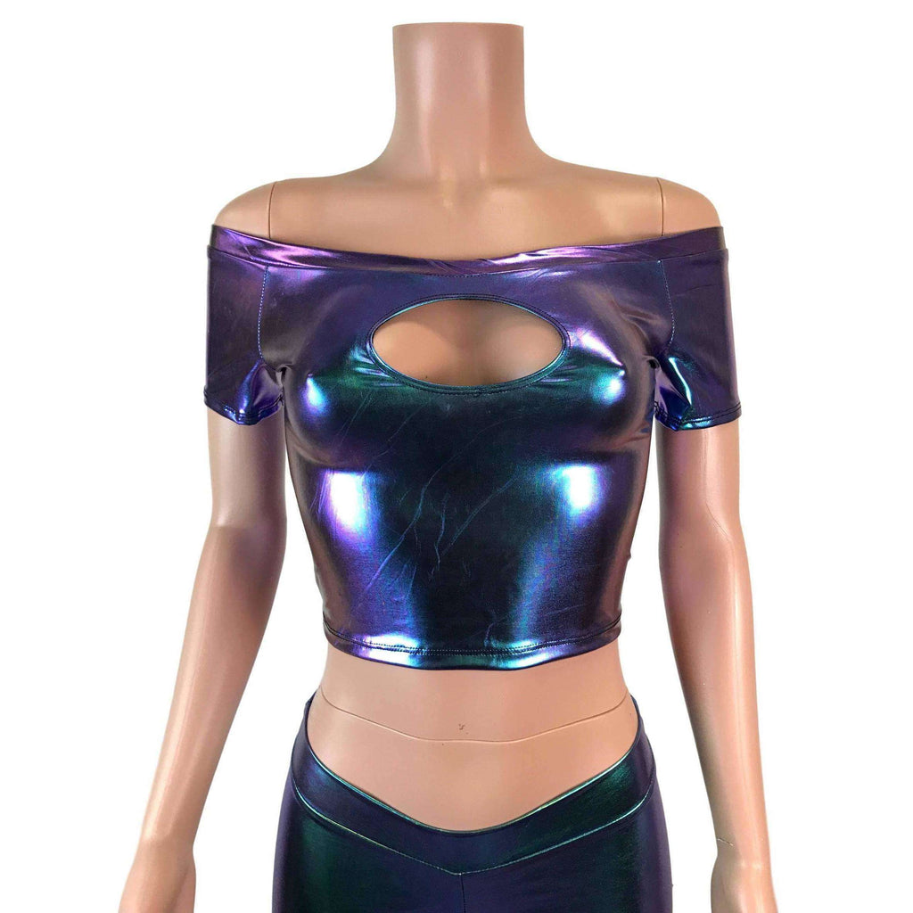 Cold Shoulder Keyhole Top - Oil Slick Holographic - Peridot Clothing