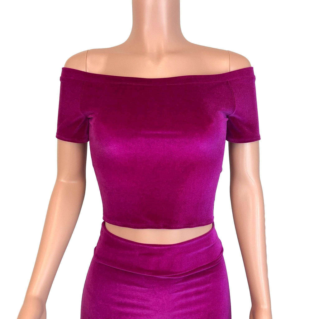 Cold Shoulder Top - Fuchsia Velvet - Peridot Clothing