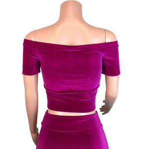 Cold Shoulder Top - Fuchsia Velvet, women's tops