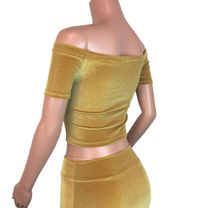 Cold Shoulder Top - Gold Velvet - Peridot Clothing