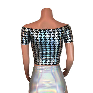 Cold Shoulder Top - Houndstooth Holographic - Peridot Clothing