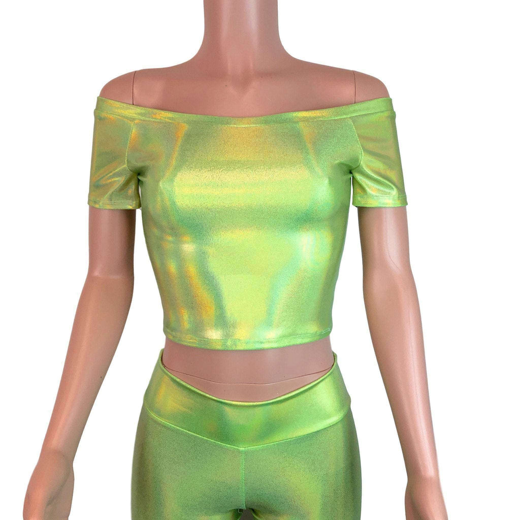 Cold Shoulder Top - Lime Green Holographic - Peridot Clothing