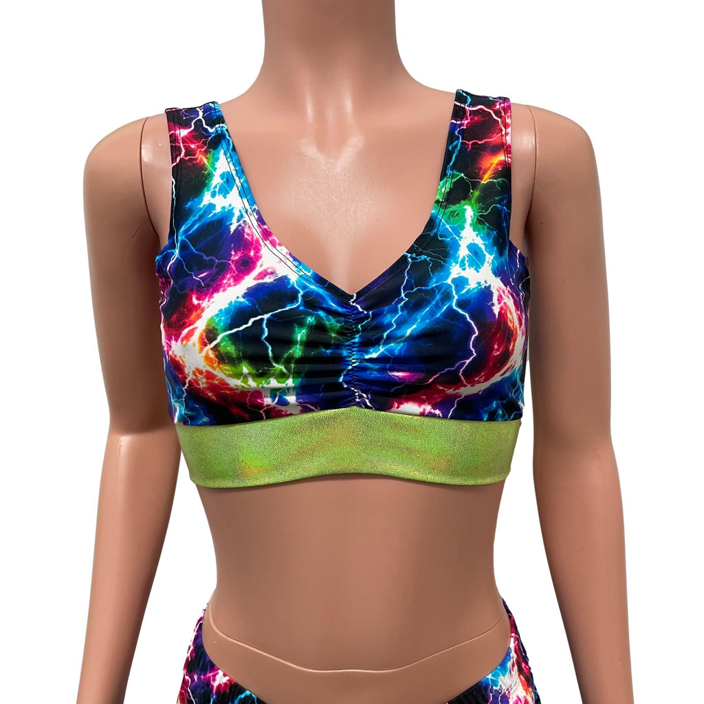 Cosmic Thunder/Lime Holo Scrunch Top Bralette - Peridot Clothing