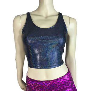 Crop Tank Top - Black Holographic, women's tops