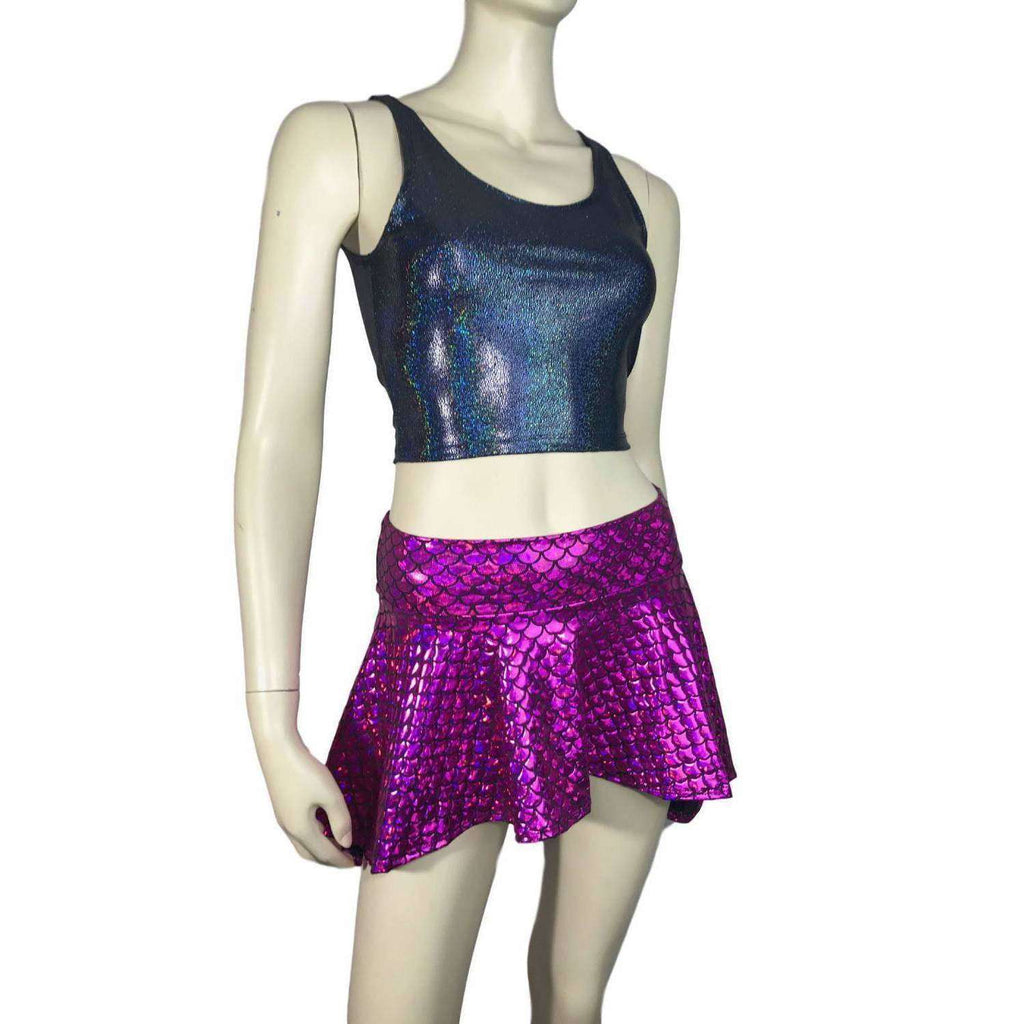 Crop Tank Top - Black Holographic - Peridot Clothing