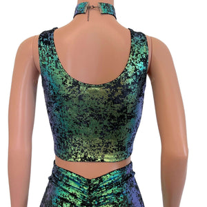 Crop Tank Top - Black/Green Iridescent Gilded Velvet - Peridot Clothing