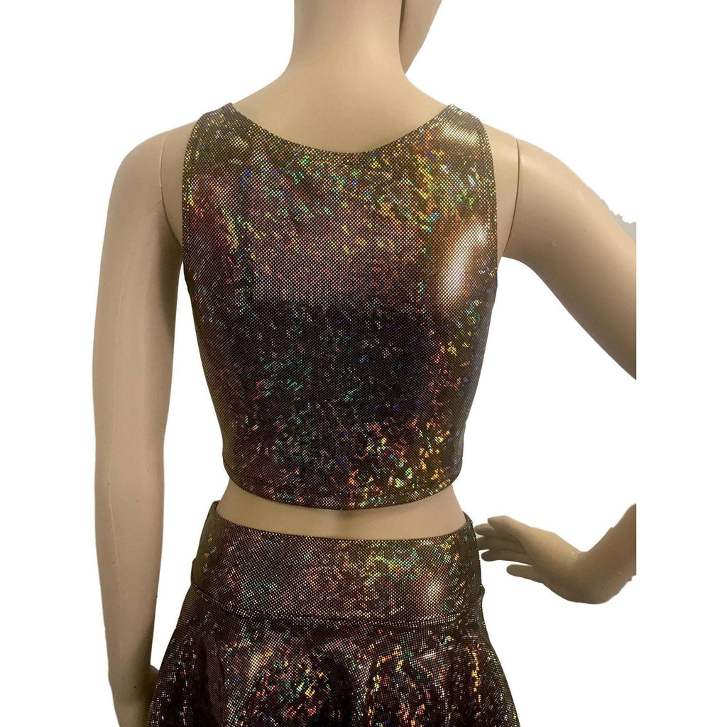Crop Tank Top - Gold on Black Shattered Glass Holographic, women's tops