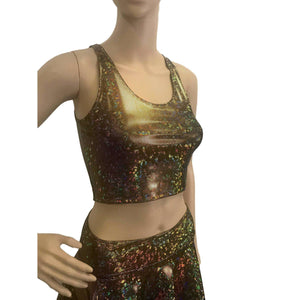Crop Tank Top - Gold on Black Shattered Glass Holographic - Peridot Clothing
