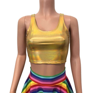 Crop Tank Top - Gold Opal Holographic - Peridot Clothing