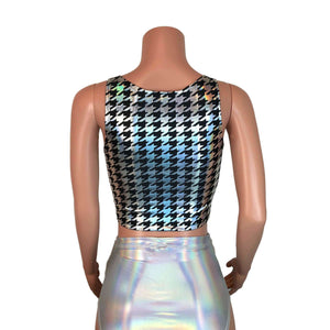 Crop Tank Top - Houndstooth Holographic - Peridot Clothing