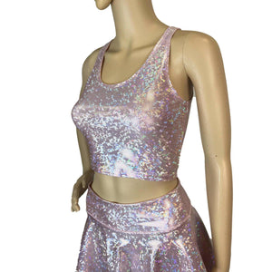 Crop Tank Top - Light Pink Shattered Glass - Peridot Clothing