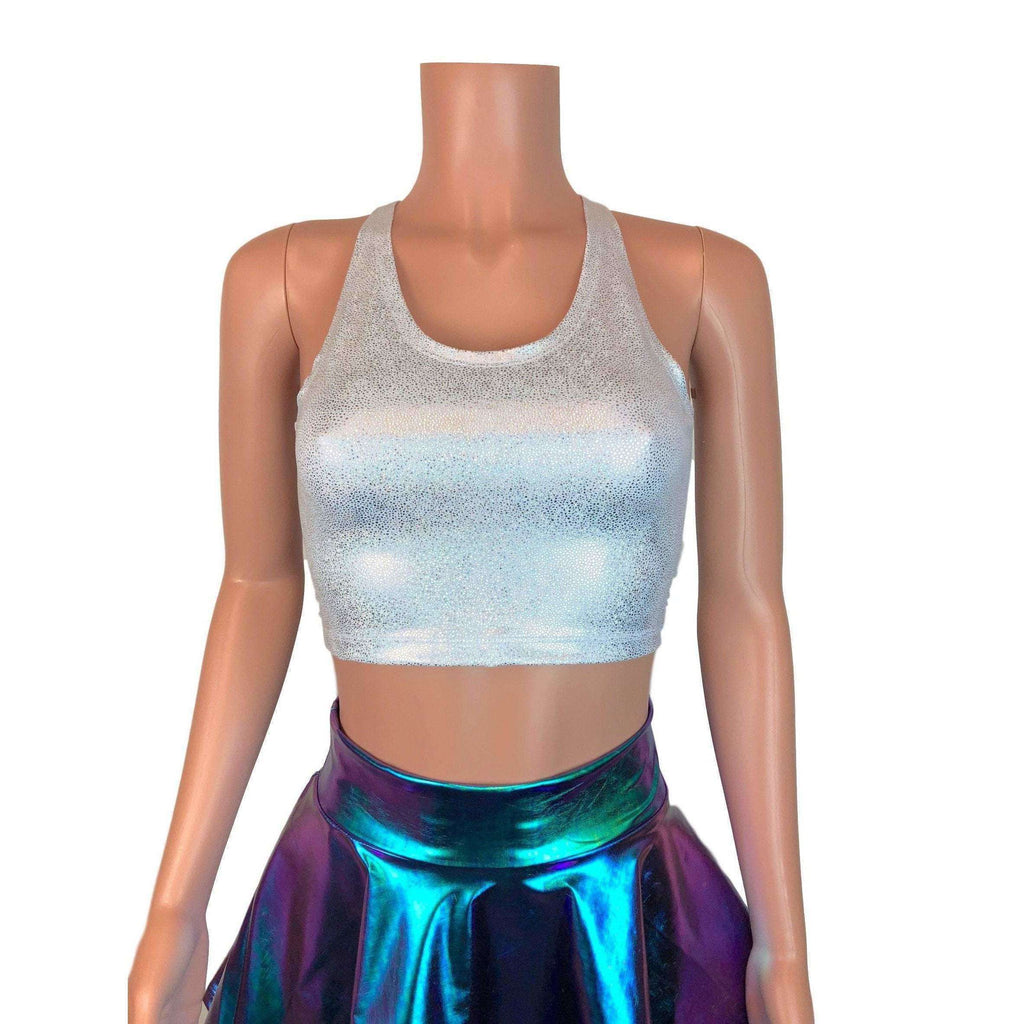 Crop Tank Top - Silver Holographic, women's tops