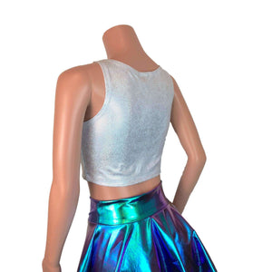 Crop Tank Top - Silver Holographic - Peridot Clothing