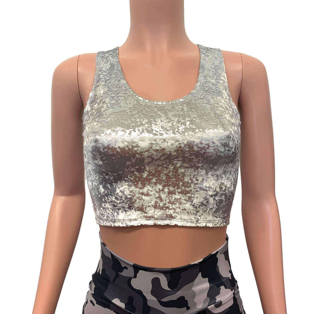 Crop Tank Top - Silver on White Gilded Velvet - Peridot Clothing
