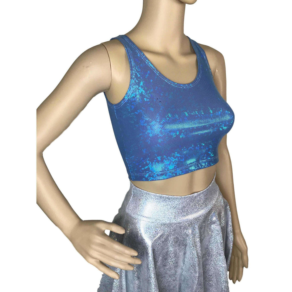 Crop Tank Top - Turquoise Shattered Glass, women's tops