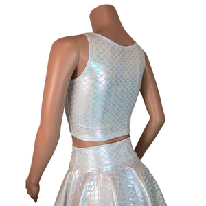 Crop Tank Top - White Iridescent Mermaid Scales - Peridot Clothing