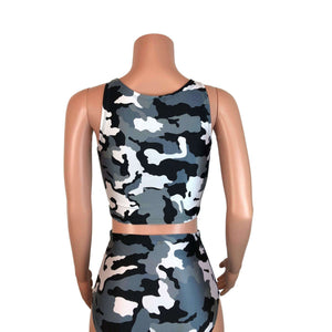 Crop Top Tank - Black & White Camo - Peridot Clothing