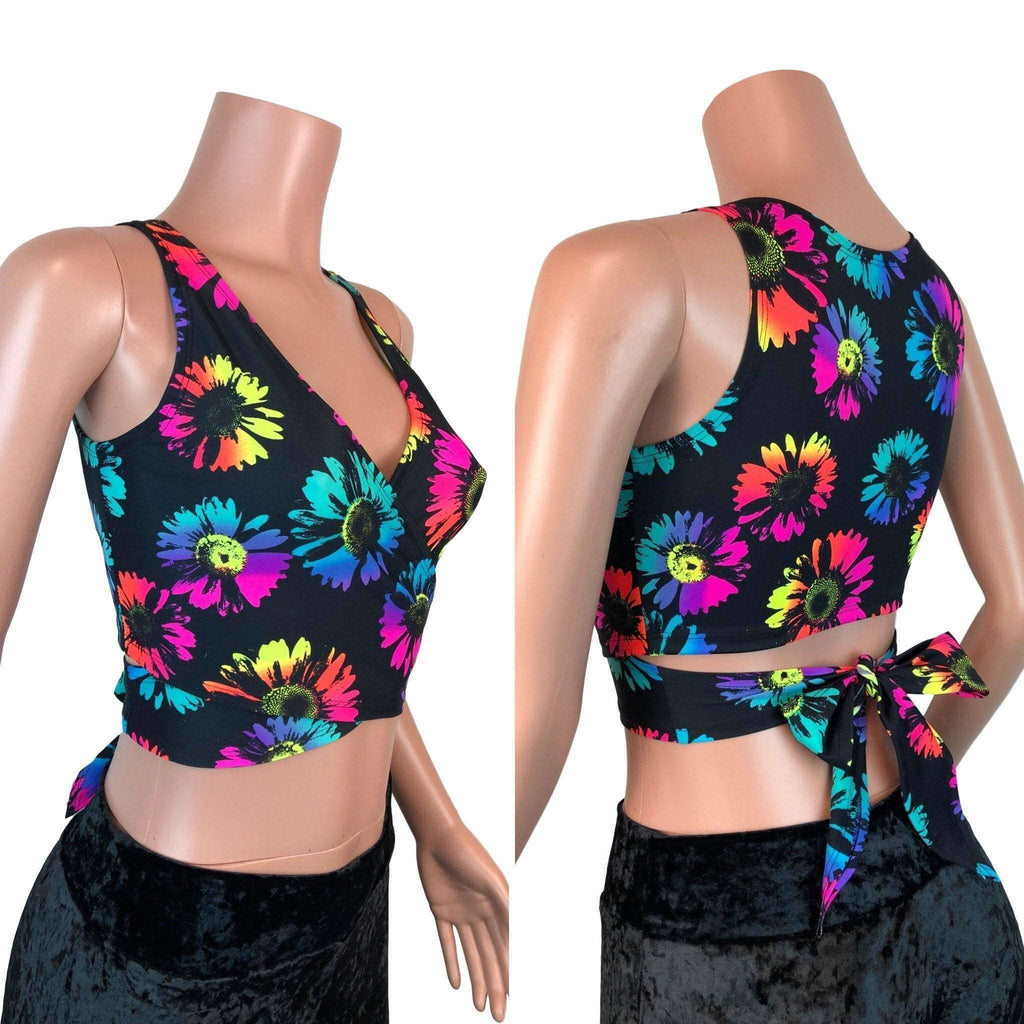 Crop Wrap Top - Electric Daisy - Choose Sleeve Length, women's tops
