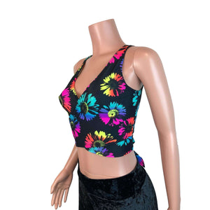 Crop Wrap Top - Electric Daisy - Choose Sleeve Length - Peridot Clothing
