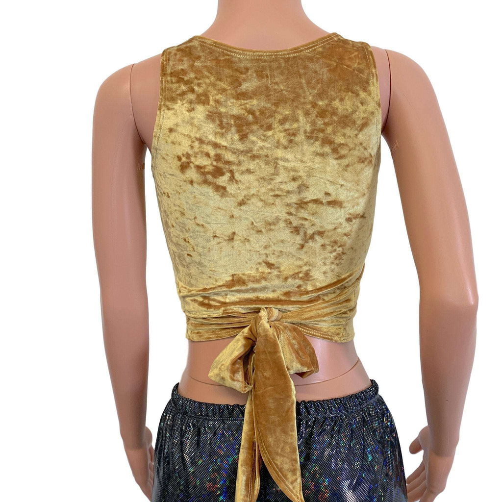 Crop Wrap Top - Gold Crushed Velvet - Choose Sleeve Length - Peridot Clothing