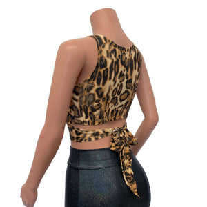 Crop Wrap Top - Leopard Animal Print - Peridot Clothing