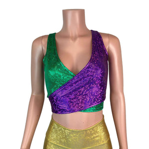 Crop Wrap Top - Mardi Gras Purple & Green - Peridot Clothing