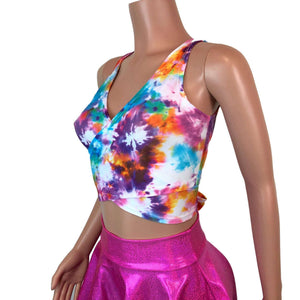 Crop Wrap Top - Tie Dye Blitz - Choose Sleeve Length - Peridot Clothing