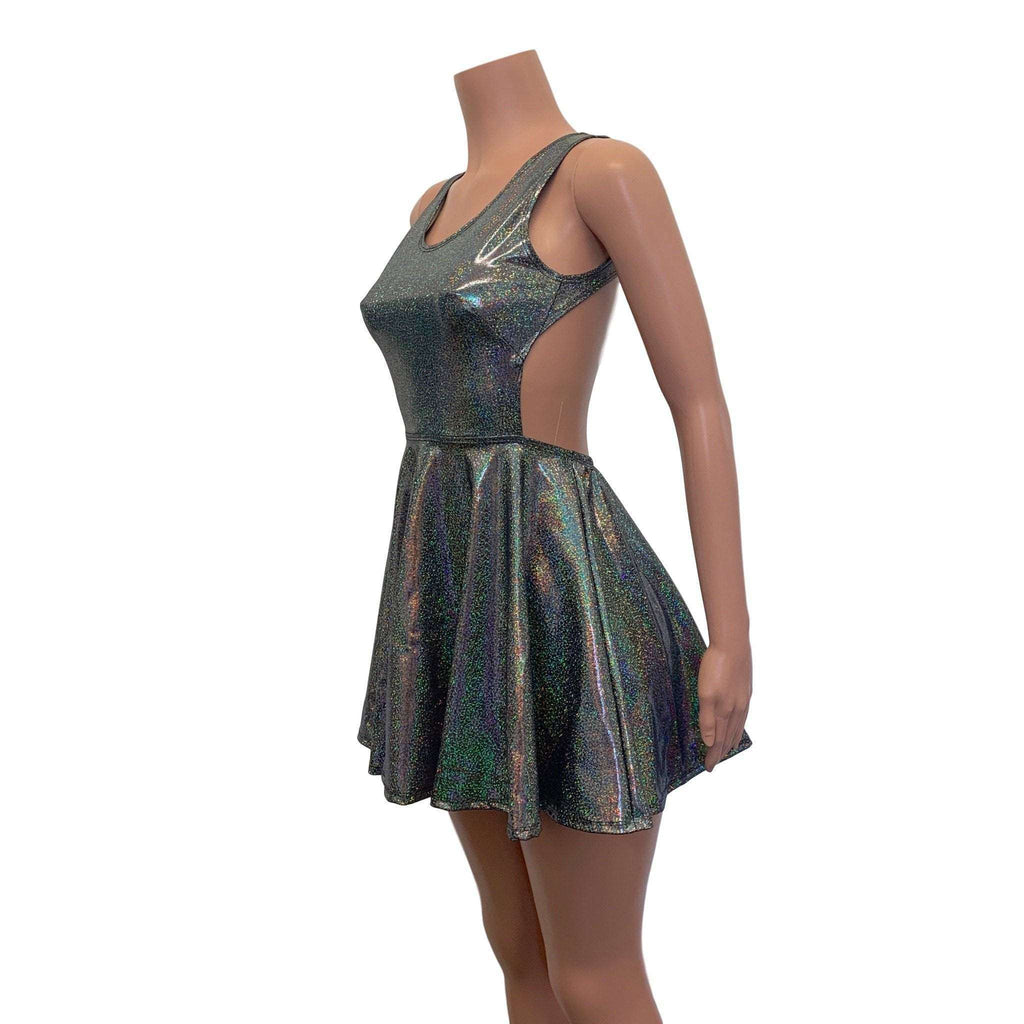 Cutout Skater Dress - Gleaming Silver Holographic - Peridot Clothing