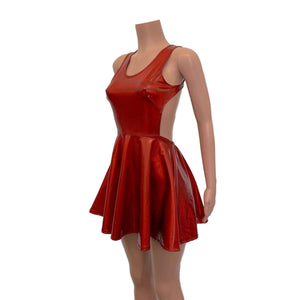 Cutout Red Skater Dress - Red Holographic - Peridot Clothing